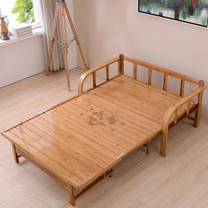 бамбук кровать складные кровати одного или двух взрослых НПД простой 1,2 метров 1,5 деревянные панели 1,8 метров пластинчатых диван - кровать