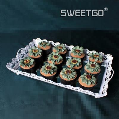 欧式铁艺蛋糕盘婚庆道具 婚礼甜品台点心盘 镜面托盘 蕾丝边方盘