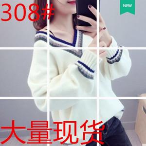 欧洲站春装女2018新款欧货时尚V领灯笼袖毛衣女套头针织衫韩版潮