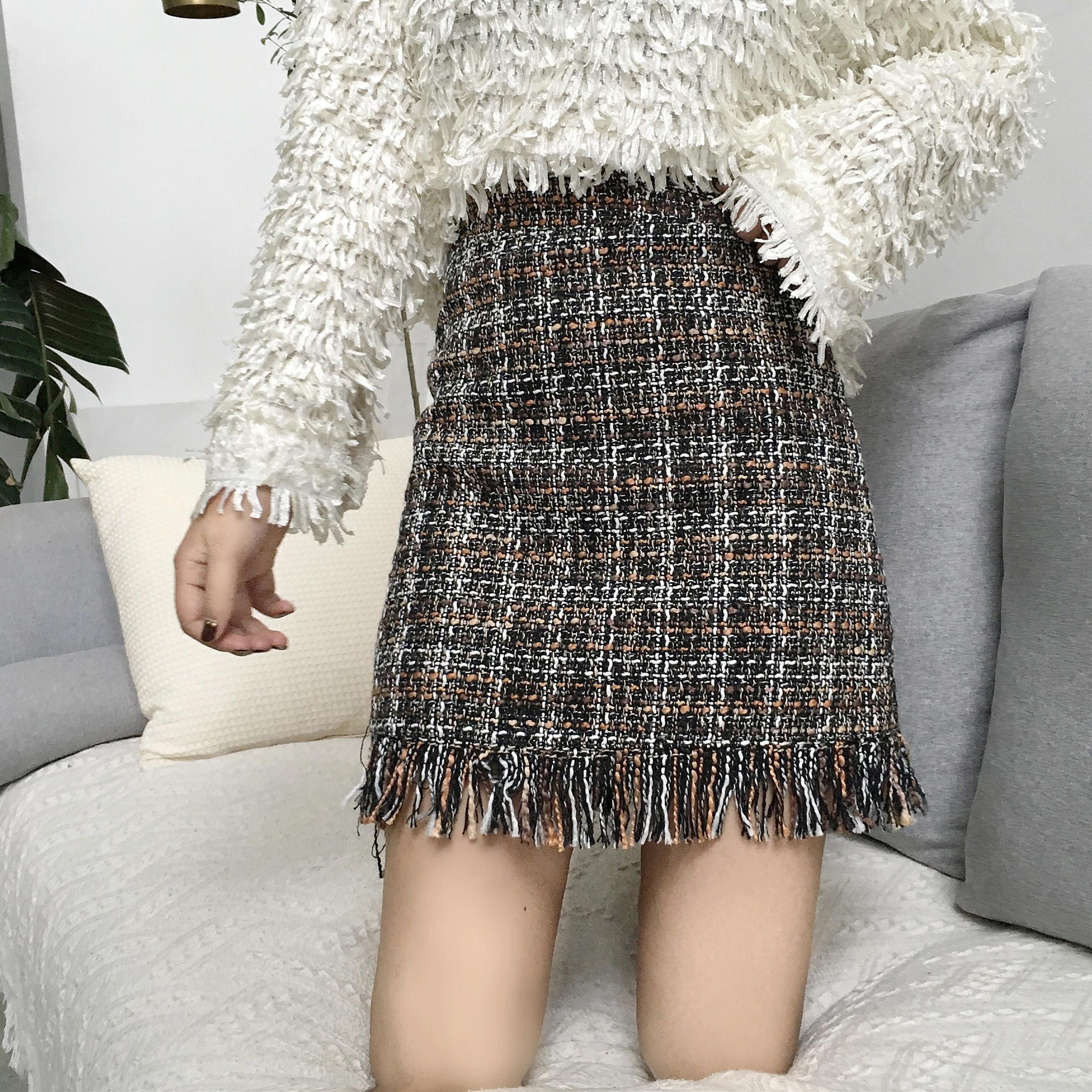 秋鼕新款咖色繫裙子女編織半身裙流蘇a字裙格子裙顯瘦高腰短裙潮