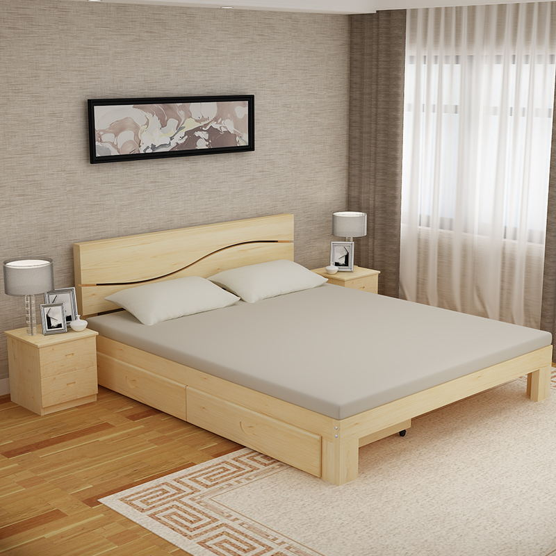 Double bed single bed drawer with high lying and simple thick elderly double bed children in rural areas