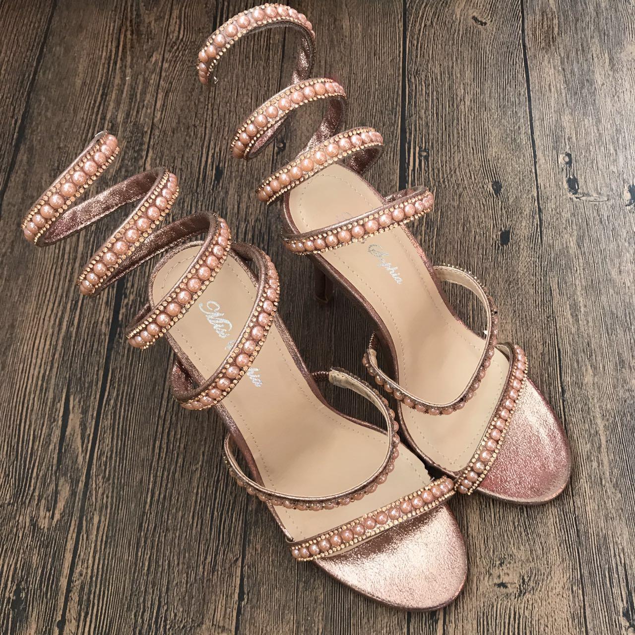 外贸欧美大码高端缠绕蛇形夹脚S型水钻金属高跟细跟10cm凉鞋女