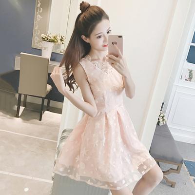 夏季新款韩版甜美气质蕾丝拼接V领无袖背心裙高腰显瘦a字连衣裙女