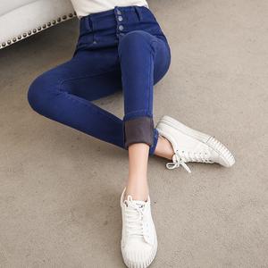 2018新款牛仔裤秋冬女加绒加长紧身高腰小脚裤韩版加棉百搭外穿