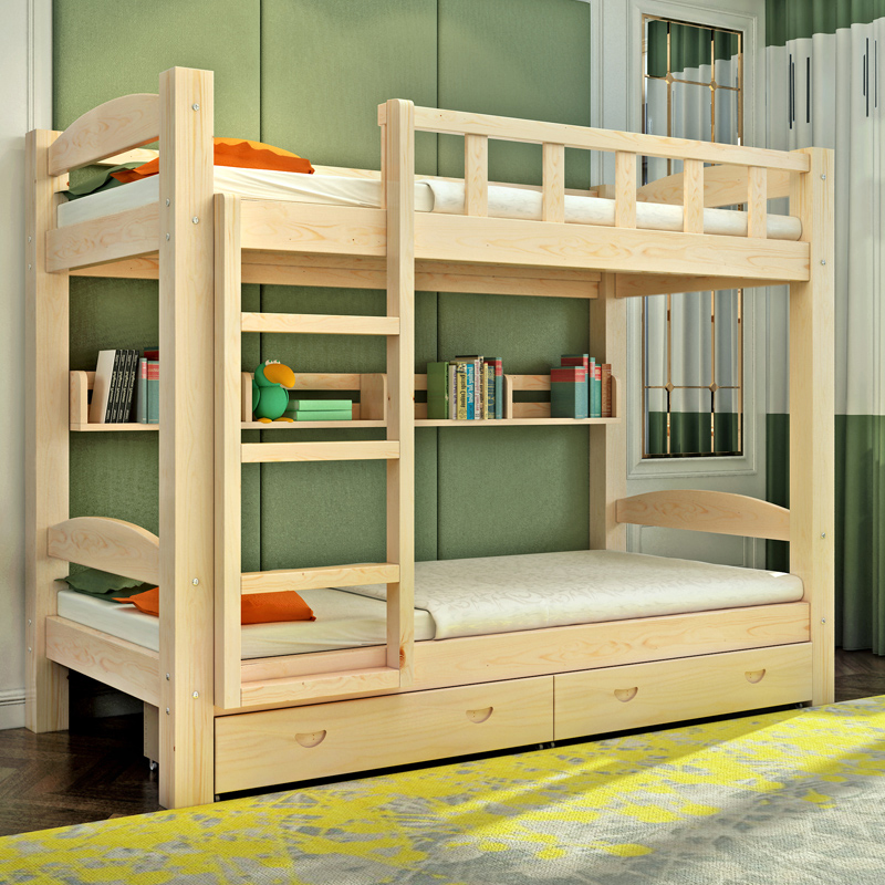 All wood shipping children bunk bed bunk beds or bed cluster dormitory bed pine bed