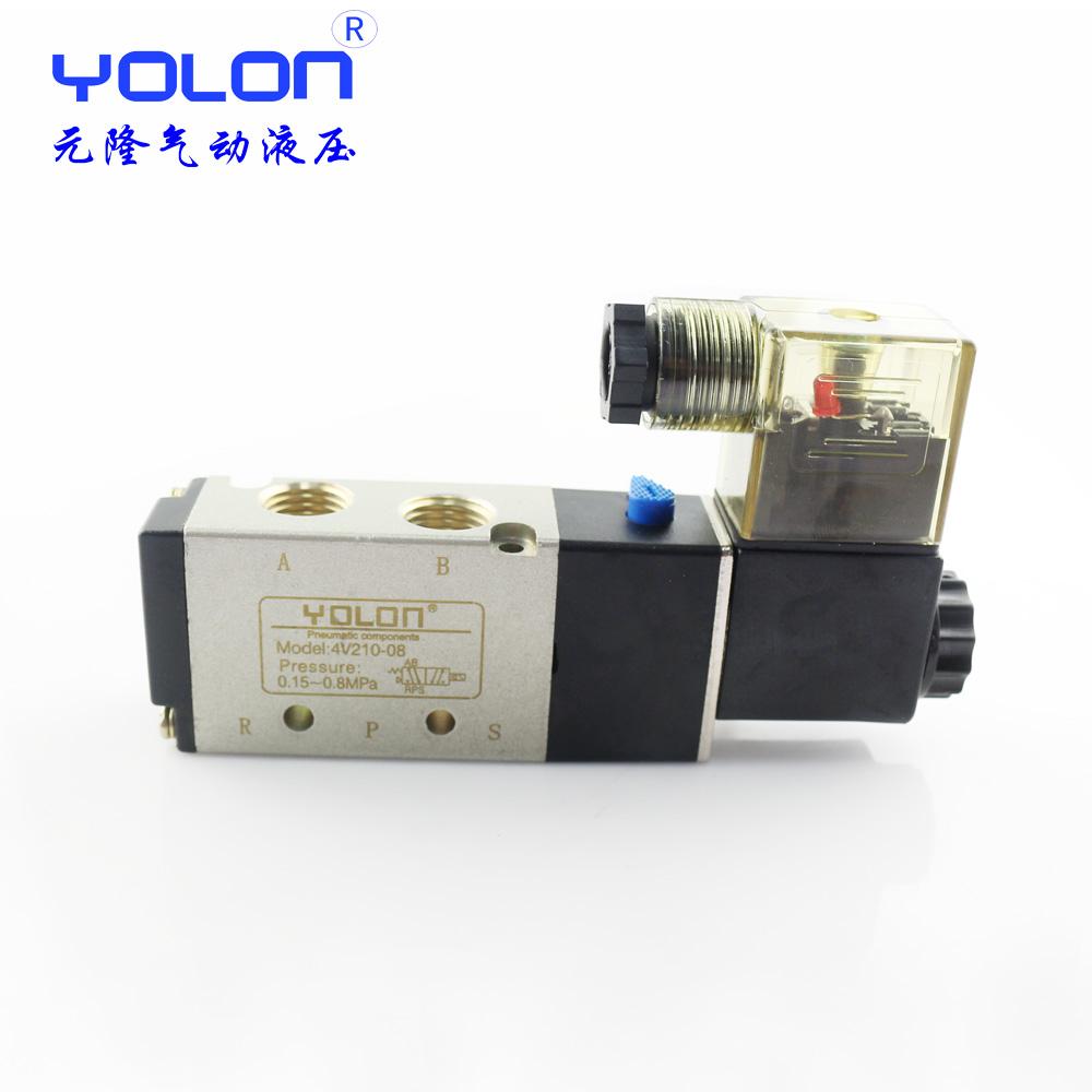 Dois, Cinco 4V210-08 válvula de cilindro, válvula de solenóide, válvula pneumática, válvula de controle DC24VAC220V