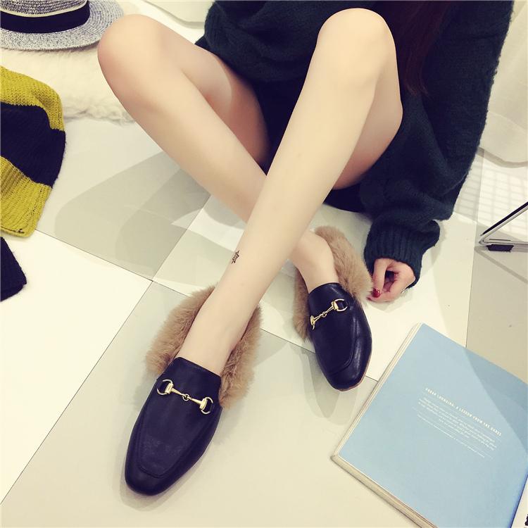 兔毛豆豆鞋女秋冬季新