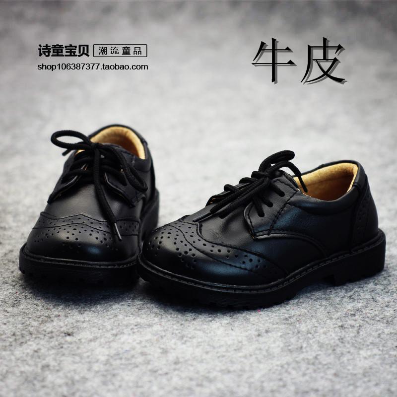 男童皮鞋真皮黑色女童