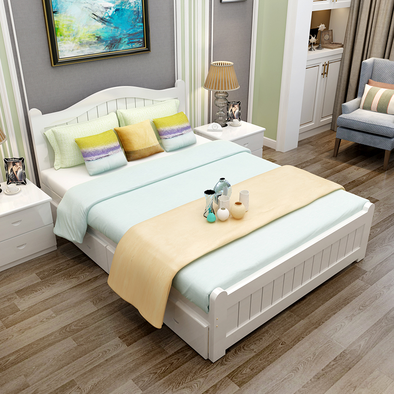 Single bed, adult small apartment, rental room, bed double bed, simple renting bed, double bed, solid wood bed