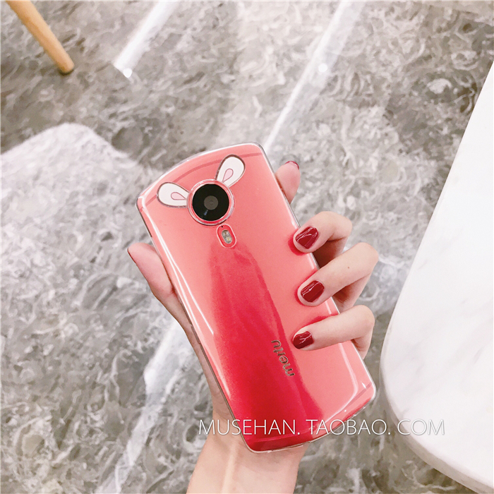Lovely stereo small ear beauty figure M4V4 mobile phone shell M6/M6s/M8 soft shell T8S full package soft shell creative cute