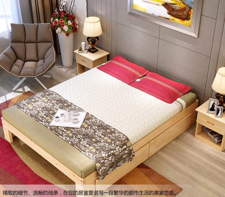 Special offer solid wood bed loose bed single bed double bed tatami 1 meters 1.2 meters 1.5 meters 1.8 meters can be customized