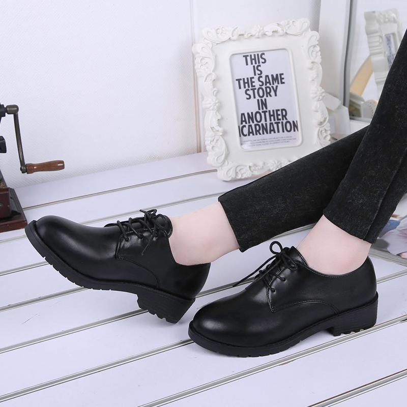 韓版春夏季平底跟黑色小皮鞋女工作職業正裝繫帶休閑學生單鞋女鞋