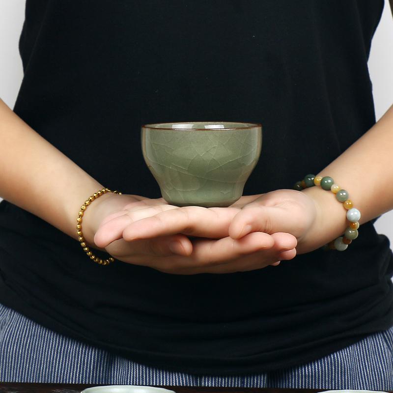 論道-主人杯品茗杯哥窯茶杯陶瓷功夫茶具小茶杯開片可養個人單杯論道主人杯