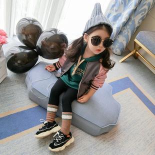 女童棒球服小童韩版潮衣儿童2018春秋新款洋气秋装女宝宝外套童装