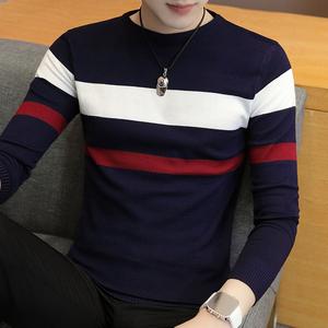 祖玛珑2018男士秋薄款长袖t恤男圆领韩版修身时尚条纹潮流针织衫
