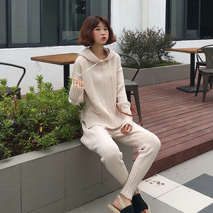 韩版时尚连帽套头宽松哈伦裤两件套装毛衣女 704#
