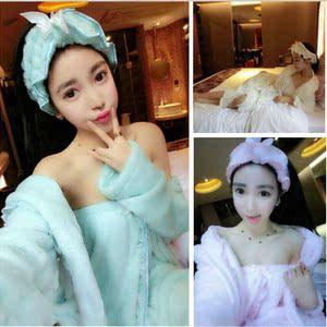 9283#新款 韩式甜美小清新 抹胸裙+长睡袍+头巾三件套女