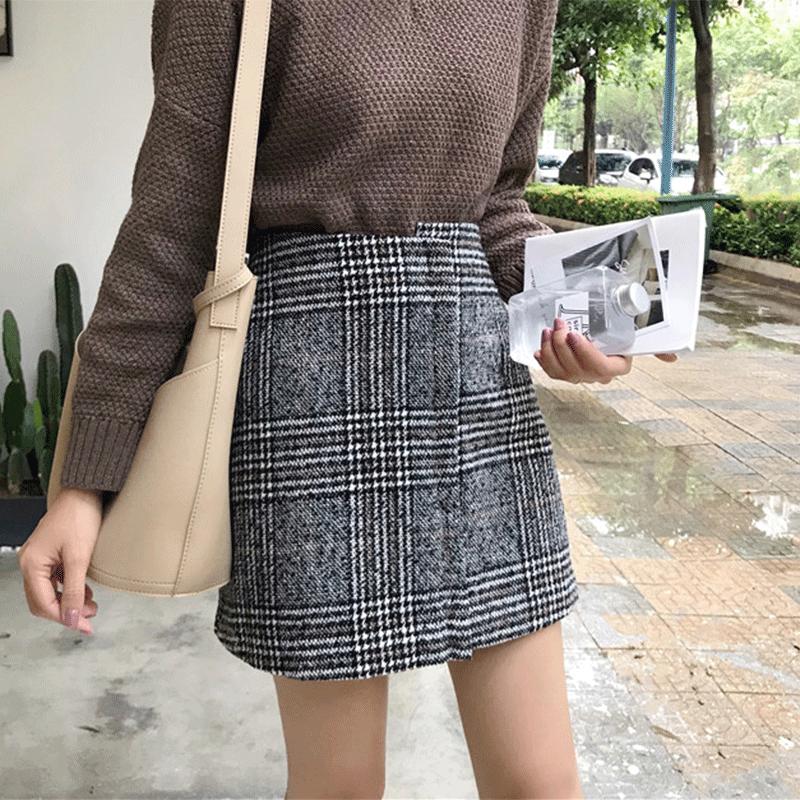 鼕季韓版格子半身裙女不規則修身顯瘦復古百搭A字裙毛呢學生短裙