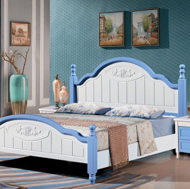Na 17 Home Furnishing simple European modern style furniture simple pastoral style bed single / double 021#