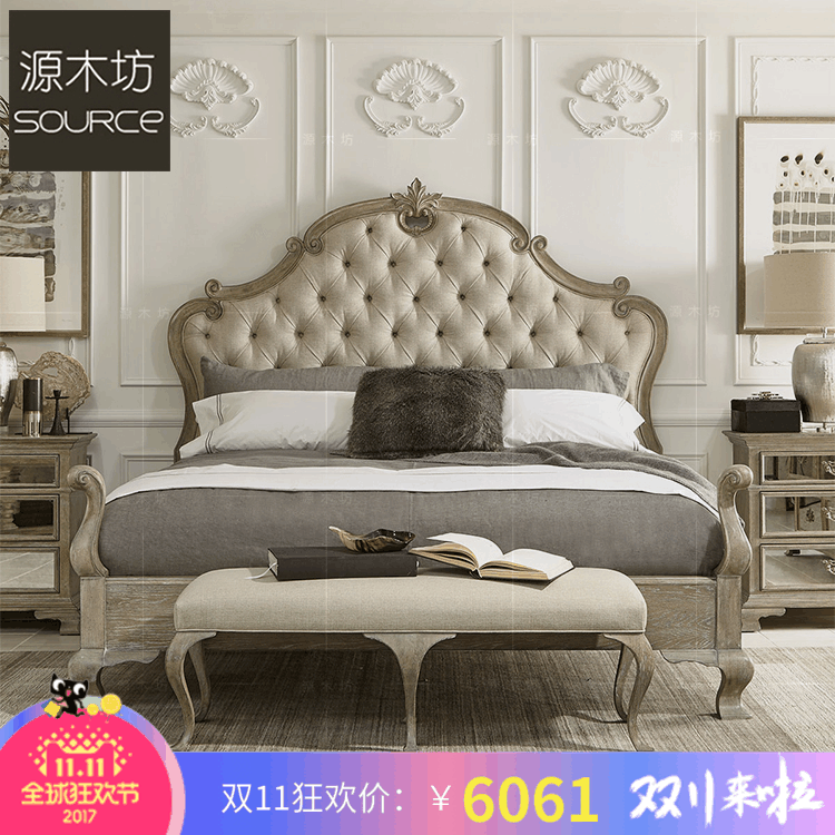 Source wood square customized American country solid wood fabric, soft 1.8 meters double bed, new classical soft marriage bed master bedroom