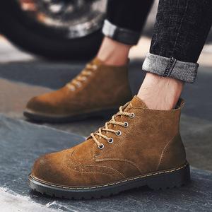 新款韓版潮流百搭復古大頭鞋秋冬季男士馬丁靴戶外工裝高幫男潮鞋