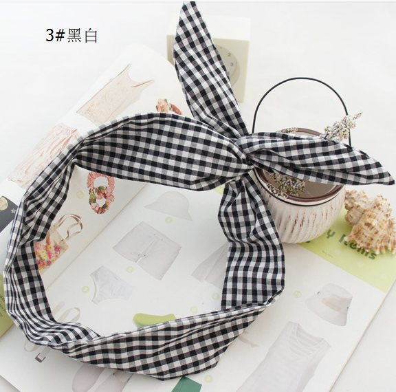 South Korea with wire hoop rabbit ears headband temperament card original cute Plaid hair headdress.