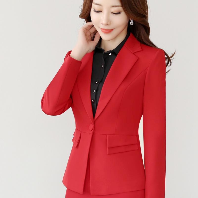 2017新款職業套裝長袖小西裝外套西服女秋鼕款百搭紅色修身工作服