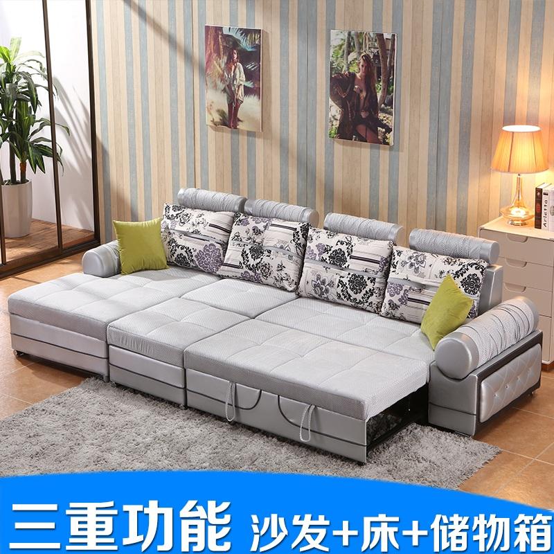 現代の簡明な客間布製ソファ回転収納ボックス多機能ソファベッドの小型可洗い張りソファベッド