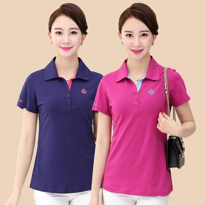 2019夏季新款中年女士纯棉T恤翻领妈妈装40-50运动衫全棉短袖上衣