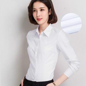 韩棉春秋白衬衫女长袖职业夏季V领宽松工作服正装大码衬衣女装ol