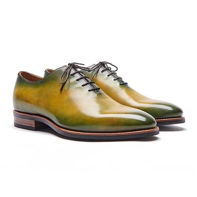 玩儿!玩弄色彩!固特异手工复古擦色绅士一片式素面二接头皮鞋原单