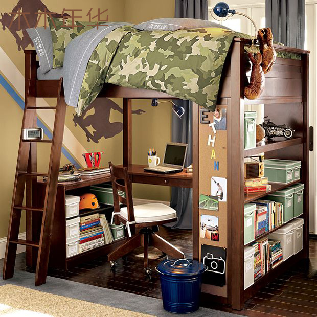 アメリカンの高低ベッドは全世界で離床高架線ベッド子供の二重ベッドのデスクの多機能は組み合わせてカスタマイズします