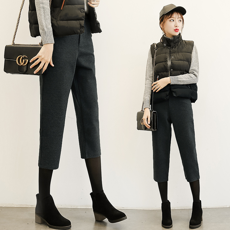 小个子女装XS码秋冬款七分哈伦裤矮个子女生150cm显高毛呢萝卜裤