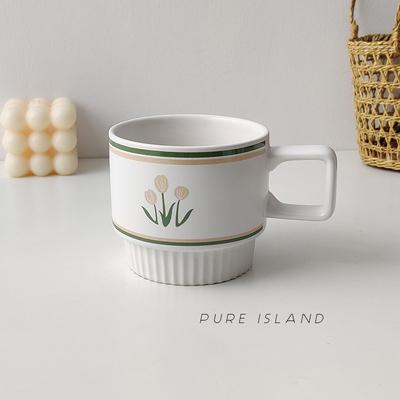 白屿 郁金香马克杯陶瓷韩国ins风早餐杯燕麦酸奶杯家用茶杯水杯