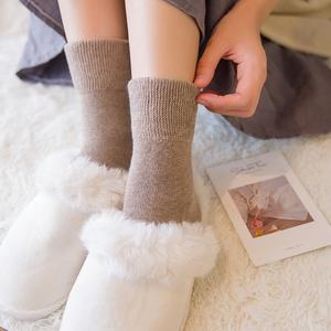 3双装冬季加绒毛巾袜子女 新款加厚纯棉纯色保暖毛圈袜百搭中筒袜