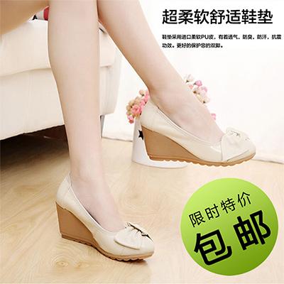 春秋季坡跟單鞋女圓頭淺口高跟百搭真皮軟底工作鞋韓版新款媽媽鞋