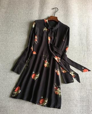 yuan 剪标 真丝双绉印花蝴蝶结飘带长袖连衣裙原单