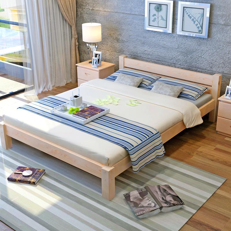 Pine wood single double bed 1.2 1.5 1.8 tatami room rental meter simple bedstead bed