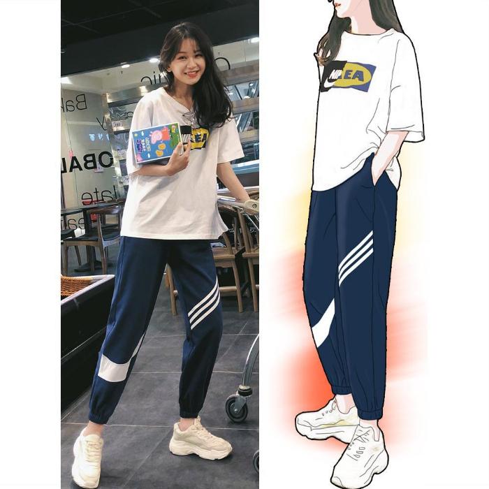 韩版运动套装女春夏季新款短袖T恤女哈伦九分裤休闲两件套学生潮