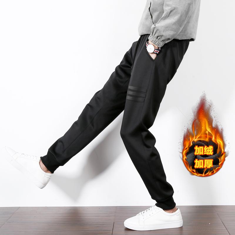 2017韩版潮流男士裤子冬季新款加绒加厚小脚休闲哈伦裤束脚运动裤