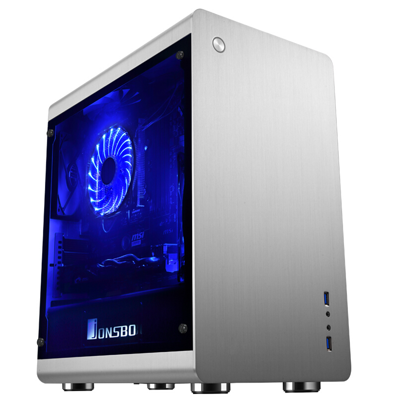Jo RM3 full aluminum M-ATX chassis Silver Black bilateral toughened glass side style chassis