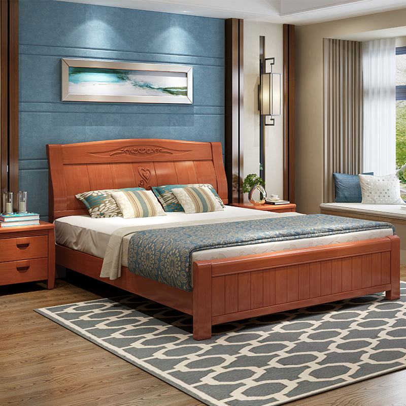 Chinese style solid wood bed master bedroom, 1.8 meters, 1.5 meters bed, high box, modern oak bed, wedding bed special price