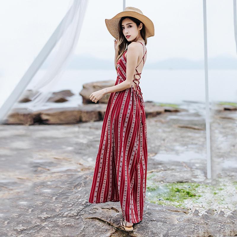 夏季2017新款泰國度假復古繫帶波西米亞弔帶印花開叉露背連衣裙女