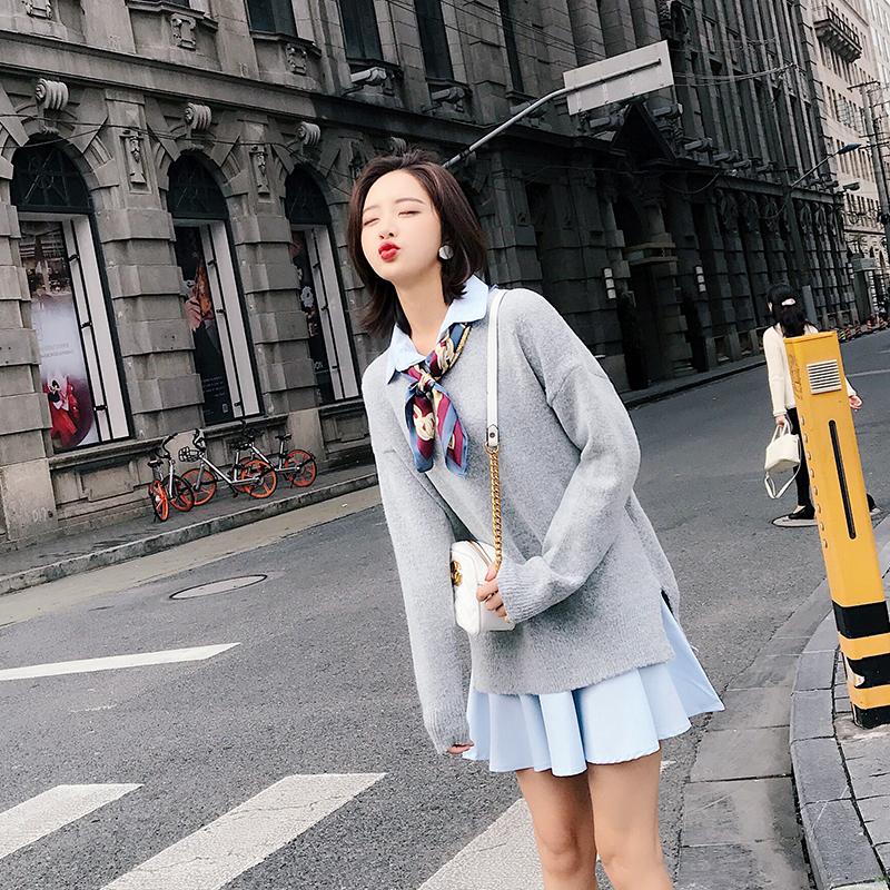 秋鼕季chic娃娃裙子鼕裝矮個子搭配兩件套裝軟妹甜美毛衣連衣裙女