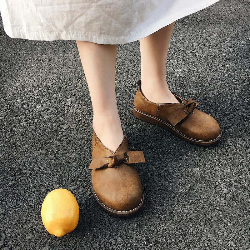 韩国秋季百搭平底鞋复古蝴蝶结大头娃娃鞋原宿小皮鞋学院风单鞋女