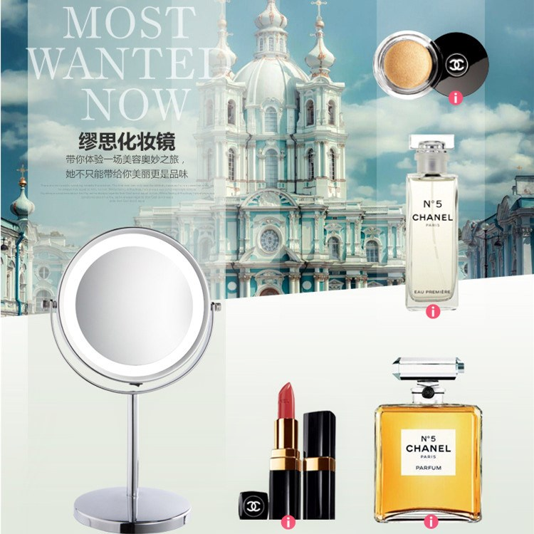 High definition super desktop double face Princess mirror with light LED mirror dressing magnification mirror light mirror make-up mirror