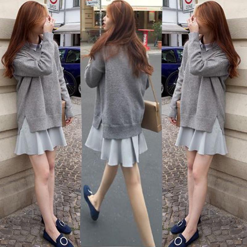 2017秋季新款韩版学院风长袖衬衫裙两件套开叉针织毛衣套装女冬装