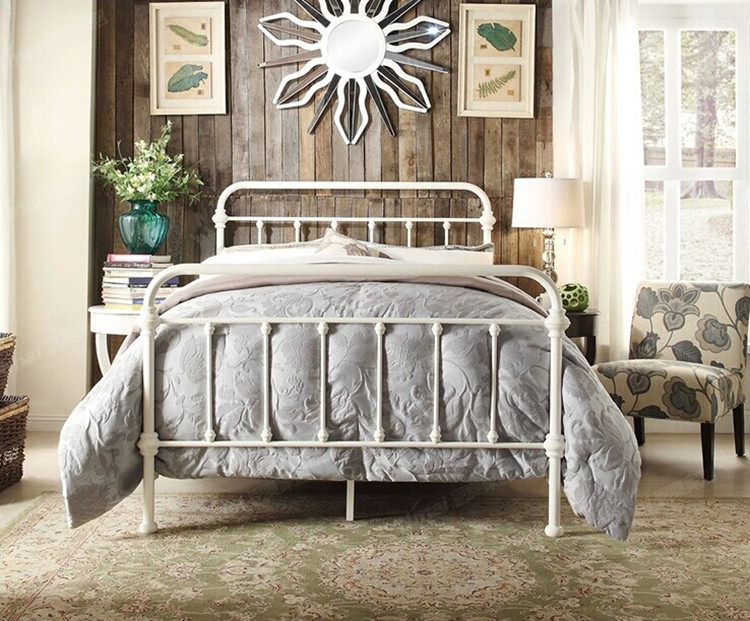 American country iron double 1.2 m /1.5 m /1.8 m single bed. Iron bedstead. Pastoral / Vintage bed