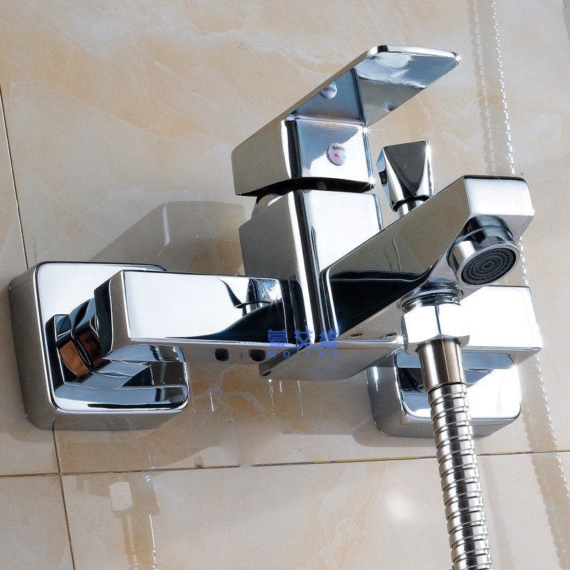 Bath shower faucet bathroom triple cold hot water mixing valve set shower head copper accessories
