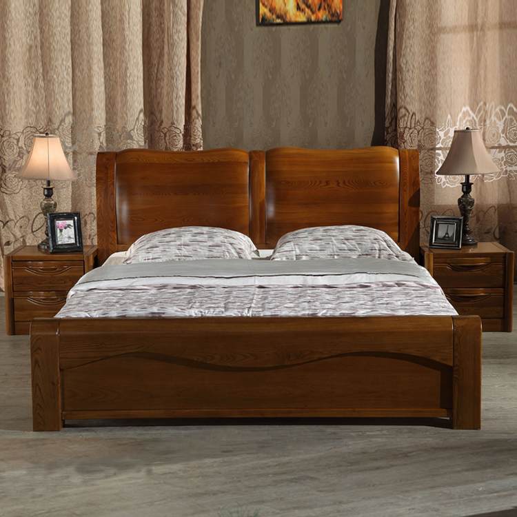 All solid wood bed 1.8 meters double bed bed widening new Chinese elm heavy main bedroom bed wood furniture
